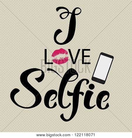 Selfie hand drawn decorative composition with lettering