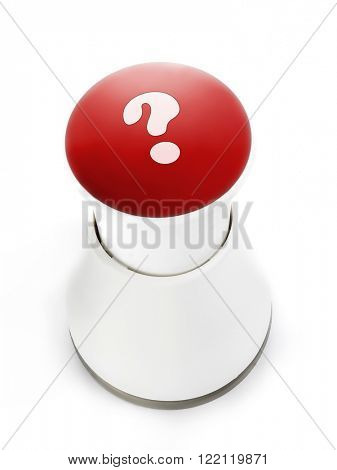 Red push button with question mark