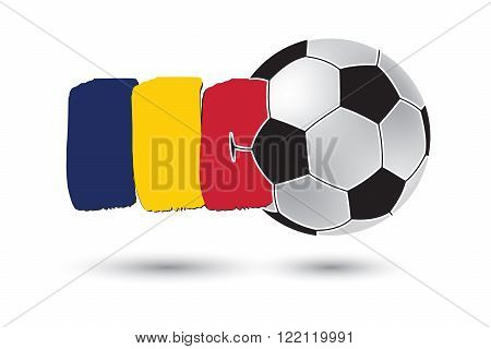 Soccer Ball And Chad Flag With Colored Hand Drawn Lines