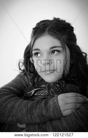 Cute fun and stylish caucasian tween girl black and white