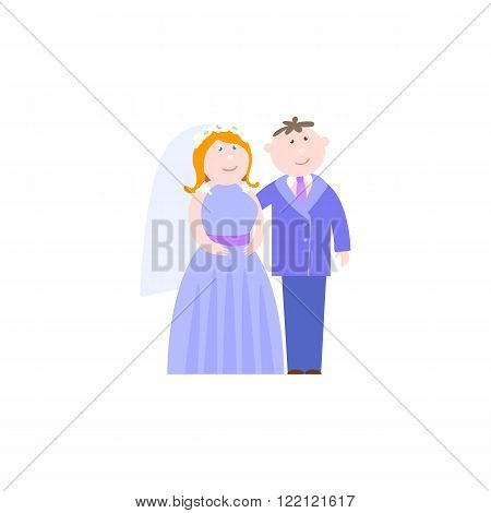 Bride and Groom flat vector figures illustration. Classic wedding in serenity color suits. Traditional bride groom cartoon. Wedding couple for invites, cakes, greeting cards and over design.