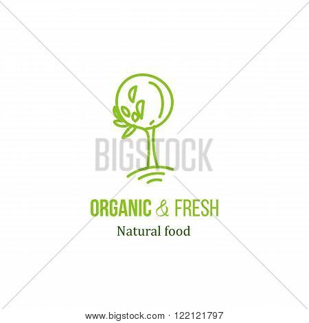 Vector logo tree with green leaves illustration. Organic and fresh natural product logo. Farm healthy food icon for identity design. Bio packaging doodle element. Green tree food logo.
