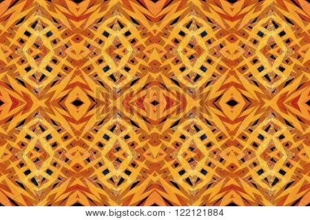 Scratched yellow and orange tribal shapes pattern