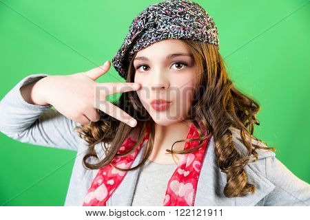 Cute fun and stylish caucasian tween girl green screen
