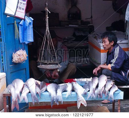 Street Trade Of The Fish In Kathmandu, Nepal.