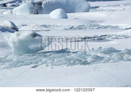 Ice Blocks At Glacier Lagoon Jokulsarlon, Iceland