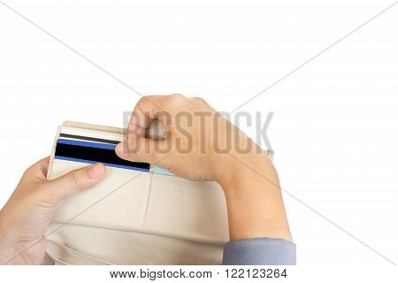 Isolated business women hands pull credit card out of wallet