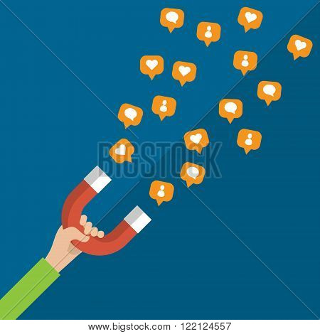 Concept of marketing and social networks.