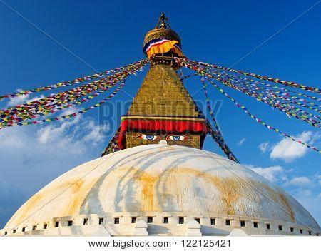 Buddhist Boudhanath Stupa in Kathmandu Nepal. Buddha eyes.