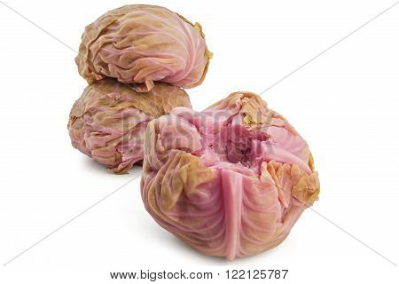 Three pickled cabbages pile, Sour cabbages head
