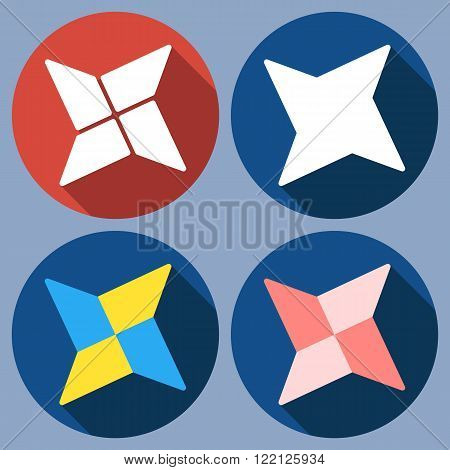 Set of abstract quadrangular shuriken. Vector flat design. Isolated icons on colorful backdrop.