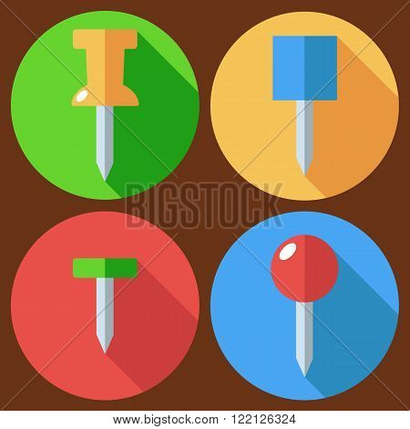 Set of drawing pin icon. Vector flat design. Isolated icons on stylish color background. Flat long shadow icon.