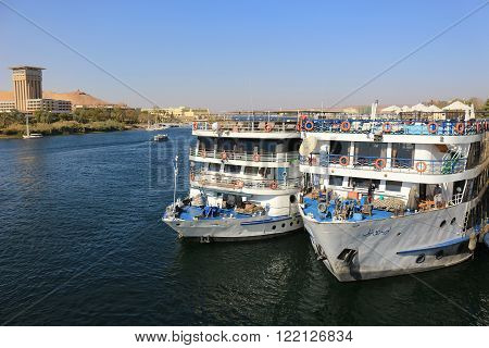 Docked Cruiseships  In Aswan, Egypt
