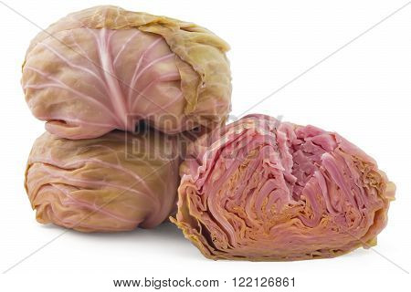 Pickled cabbages heads, one cutted, Sour cabbages