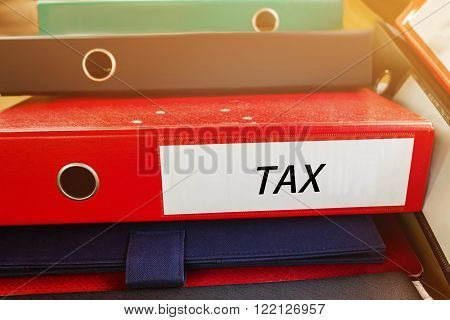 Pile Up Document File Or Binder With Text Tax