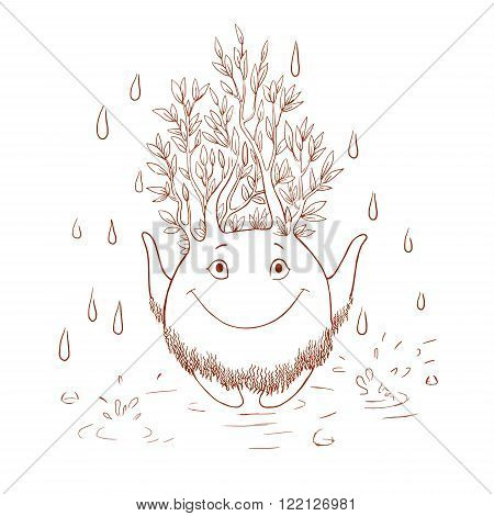 Coloring for children the spirit of the forest enjoying life the spirit of nature. Contour cute fantasy creatures in the head which grow branches. Rainy warm joyful day.