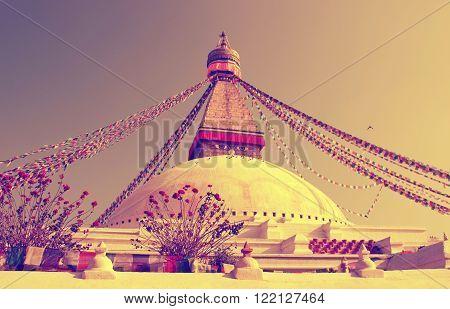 Buddhist Boudhanath Stupa In Kathmandu, Nepal . Instagram Toning