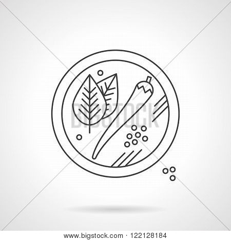Mexican spices flat thin line vector icon