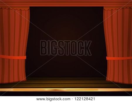 Vector red curtains in theater or opera. Dark red curtain scene gracefully for text. Elegance vector backdrop for poster