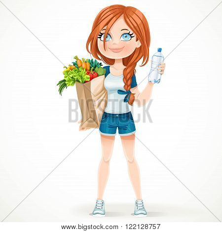 Beautiful girl in a sports suit holds a paper bag of healthy food and water bottle isolated on white background