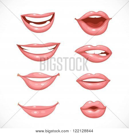Female lips in nature colors isolated on a white background