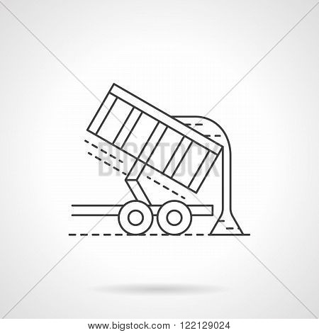 Crop unloading flat thin line vector icon