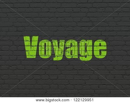 Tourism concept: Voyage on wall background