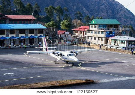 LUKLA NEPAL - MARCH 4: Tenzing-Hillary Airport the most dangerous airport in the world on March 4 2014 in Lukla Nepal.