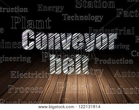 Industry concept: Conveyor Belt in grunge dark room