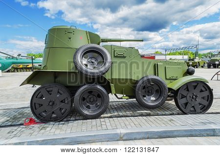 VERKHNYAYA PYSHMA RUSSIA - JUNE 11 2015: Light armored car BA-20 in the Museum of military equipment in the town of Verkhnyaya Pyshma. Russia