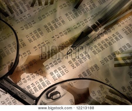 Composite abstract illustrating share trading. Image contains pen resting on financial newspaper overlaid with clock face.