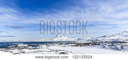 Arctic capital snow panorama, Nuuk city, Greenland