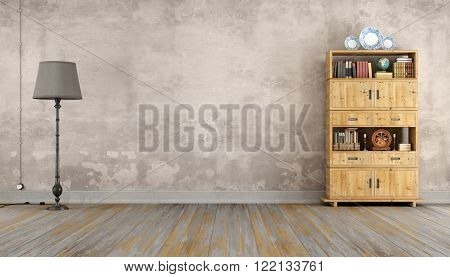Retro room with wooden bookcase and floor lamp - 3D Rendering