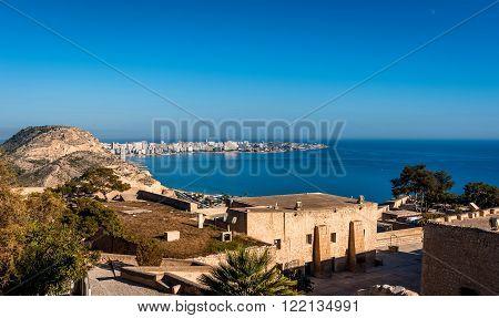 Alicante coastline view from the Castle of Santa Barbara. Alicante city Costa Blanca. Valencia. Spain