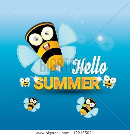 Hello summer vector background with sunny sky and baby bee flying. kids background with funny cartoons bee