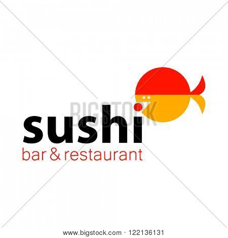 Sushi bar restaurant logo. Sushi food,  sashimi,  japanese food, sushi fish, sushi chef,  sushi menu, japanese restaurant design element. Vector illustration.
