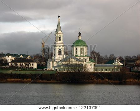 Modest Orthodox monastery on the Volga River Tver Russia ** Note: Visible grain at 100%, best at smaller sizes