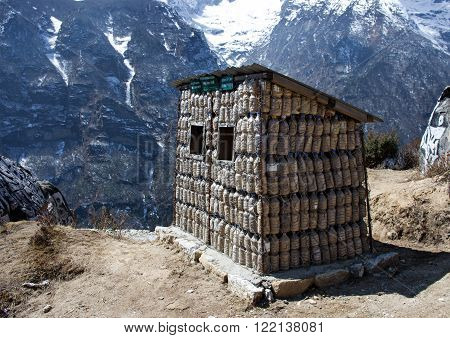 Bins For Recycle Materials In Himalaya Mountains