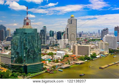 Bangkok Thailand Cityscape on the Chaopraya River.