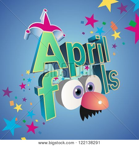 April Fools day vector illustration with jester hat and funny glasses