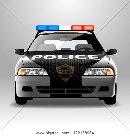 Police car in frontal view. Vector illustration