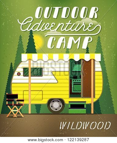 Vintage Travel Poster with Travel Trailer on Forest. Vector illustration.