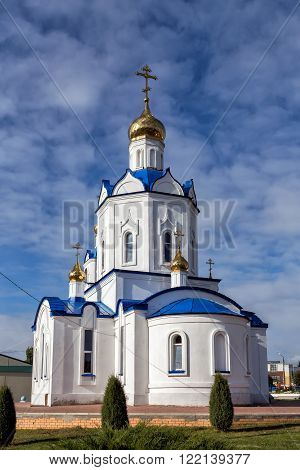 Church of the Intercession of the Holy Virgin on a sunny day. Village Hlevnoe. Russia