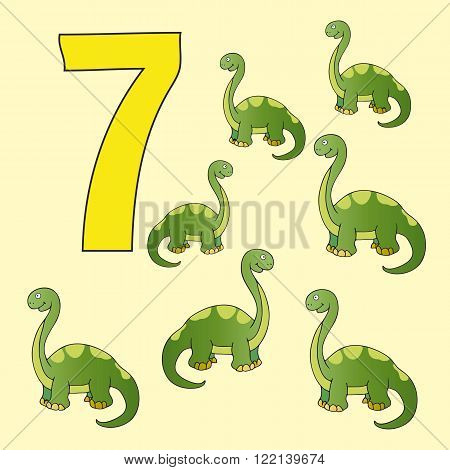 A poster for primary numeracy. Number seven. Next to the number seven dinosaurs.
