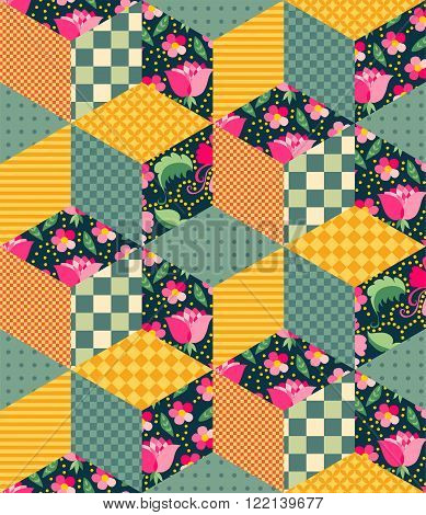 Bright seamless patchwork pattern from different colorful elements.
