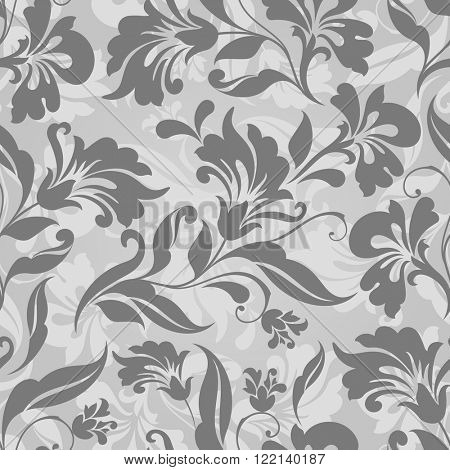 Seamless grey and white floral vector background. Seamless floral wrapping paper template or seamless website background.