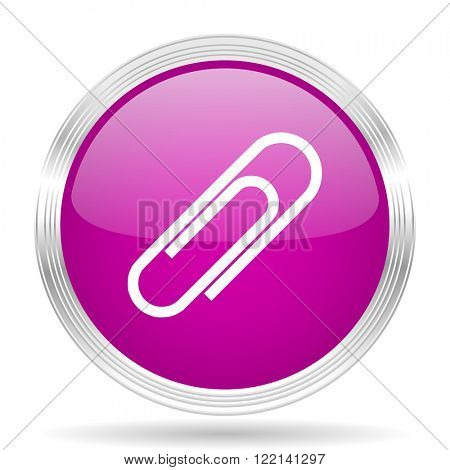 paperclip pink modern web design glossy circle icon