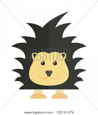 Fun zoo illustration of cute cartoon porcupine australia echidna character and australia porcupine vector. Cute cartoon porcupine australia wildlife echidna mammal animal flat vector illustration.