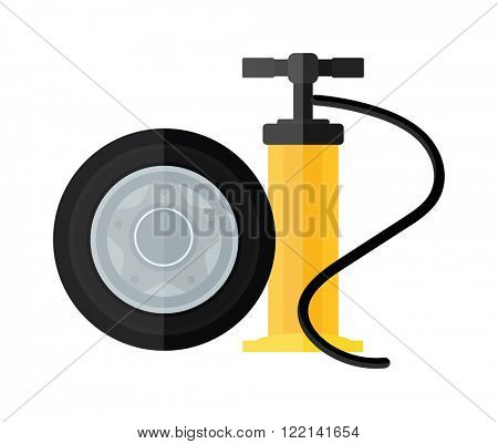 Hand pump instrument and automobile service equipment hand pump vector. Device hand bicycle and car pump flat cartoon vector style icon.