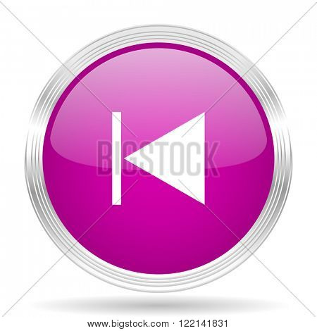 prev pink modern web design glossy circle icon